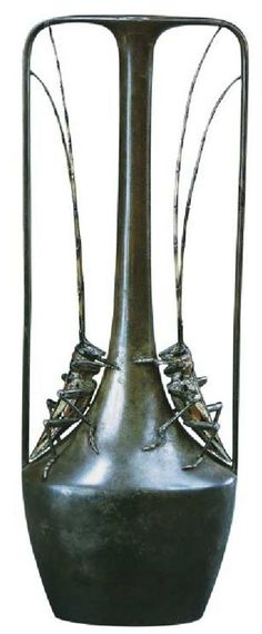 Art Nouveau Vase with Crickets by Henri Vever 1904