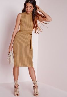 D-Ring Knitted Midi Dress Camel