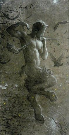 the Neopagan notion of the Horned God, as an archetype of male virility and sexuality. In Wicca, the archetype of the Horned God is highly important, as represented by such deities as the Celtic Cernunnos, Indian Pashupati and Greek Pan Magical Creatures, Fantasy Creatures, Fantasy World, Fantasy Art, Mythological Creatures, Gods And Goddesses, Deities, Faeries, Illustration