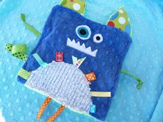 Monty the Monster- Crinkle Crackle- Ribbon blanket with pacifier clip holder-inspiration