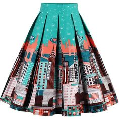 Teal Pleated Graphic Print Vintage Midi A Line Skirt (76.540 COP) ❤ liked on Polyvore featuring skirts, teal, vintage pleated skirt, pleated skirt, summer skirts, knee length pleated skirt and knee length summer skirts