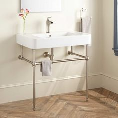 Burleson Porcelain Console Sink with Brass Stand