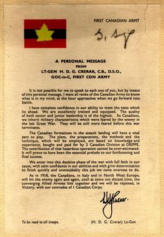 Message to the troops before the Normandy invasion | Wartime Canada