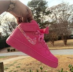 New Custom Painted All Pink  & BLING All Sizes Nike Air Force 1's High by KapeClothingCo on Etsy https://www.etsy.com/listing/231742201/new-custom-painted-all-pink-bling-all