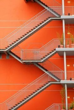 Orange stairs Stock Photo