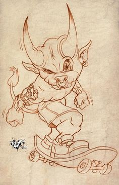 Badass Drawings, Demon Drawings, Dark Art Drawings, Art Drawings Sketches, Tattoo Sketches, Cartoon Drawings, Cartoon Art, Animal Sketches, Animal Drawings
