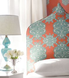 Sweet dreams from Shangri-La Collection by Thibaut (via House of Turquoise) Coral Aqua, Orange And Turquoise, Turquoise Color, Coral Accents, Orange Orange, House Of Turquoise, My Living Room, My Room, Cozy Living