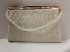 Beaded Evening Bag Mother of Pearl Clasp Cream White Cocktail Vintage MidCentury