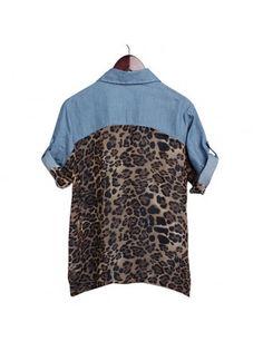 Chic Leopard Chiffon Shirt Denim Blouse