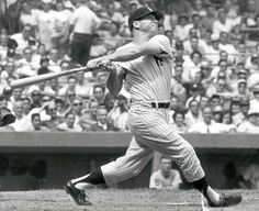 New York Yankees' centerfielder Mickey Mantle completes his swing as he hits his homer of the season in the first inning against the Detroit Tigers at Yankee Stadium, New York, September (AP Photo/stf) Baseball Photos, Sports Photos, New York Yankees, Damn Yankees, Equipo Milwaukee Brewers, Best Baseball Player, Baseball Records, Baseball Tickets, Surf