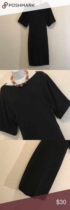 👗Calvin Klein Black Sweater Dress Excellent Condition, Stretch, Short Fold Sleeve, Medium Heavy, Loose Fit. Calvin Klein Dresses