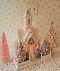Large Pink Putz Cathedral - LIGHTED!  Aurora Borealis Rhinestones