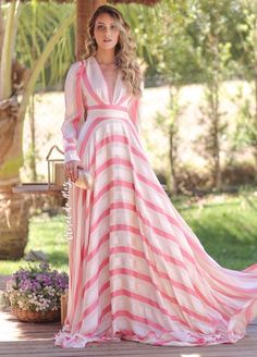 Floor-Length V-Neck Long Sleeve Pullover Color Block Dress – le-mon-dresses Cute Maxi Dress, Striped Maxi Dresses, Satin Dresses, Dress Skirt, Nice Dresses, Casual Dresses, Dresses With Sleeves, Summer Dresses, Abaya Fashion