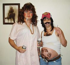 Beer-belly Bum: Try a little gender-bending with your significant other by throwing on his undershirt and jeans, a trucker cap and the facial hair of your choosing.