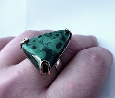 Sterling silver ring with malachite malachite by SebsJewellery