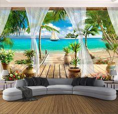 Photo Wallpaper Open Window With Curtains Seaview Sandy Beach Mural - Wallpaper World Tv In Bedroom, Bedroom Sofa, Print Wallpaper, Home Wallpaper, Floor Wallpaper, Wallpaper Space, Beach Wallpaper, Wallpaper Murals, Wall Decor