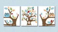 "Baby Room Decor, Nursery print set of 3 8"" x 10"" ,tree,birds,owls,apples"