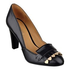 """His style, your way. The inspiration for our Captiva dressy leather high heel pumps was taken from the kiltie found on men's casual and dress shoes. For an extra kick, we tipped the ends of the kilties with a rich golden color. Padded footbed for all-day comfort. Leather upper. Man-made lining and sole. Imported. 3 1/2"""" high heels."""