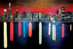 Chicago skyline 'reflections' painting