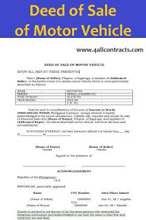 Deed Of Sale Of Motor Vehicle Motor Car Rental Agreement Templates Sell Car