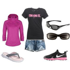 summer wear, nike outfit, summer outfits, athletic style, athletic outfits, flip flop, casual outfits, shoe, sporty outfits