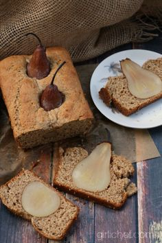 Spiced Buttermilk Poached Pear Bread from girlichef.com