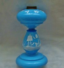 Antique Hand-Painted French Victorian Blue Opaline Glass Oil Lamp Hand-Blown