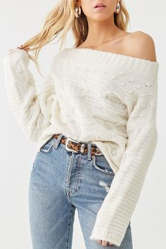 Forever 21 Cable Knit Off-the-Shoulder Sweater , Ribbed Sweater, Cable Knit Sweaters, Cropped Sweater, Cardigan Fashion, Sweater Outfits, Cute Outfits, Baby Outfits, Buffalo Plaid Cardigan, Victoria Fashion