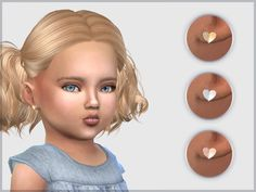 The Sims Resource: Heart Studs For Toddlers by feyona Sims 3, Play Sims 4, Sims Four, Sims 4 Cc Kids Clothing, Sims 4 Mods Clothes, Toddler Hair Sims 4, Toddler Girl, The Sims 4 Bebes, Sims 4 Piercings