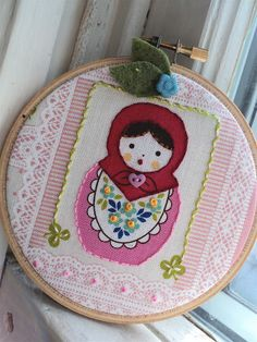 cute russian doll art from Rosemary Byron. Embroidery Applique, Cross Stitch Embroidery, Sewing Crafts, Sewing Projects, Matryoshka Doll, Embroidery Techniques, Needlework, Arts And Crafts, Crafty