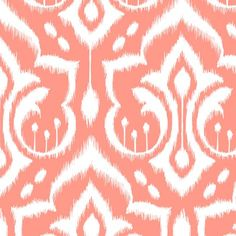 Ikat Damask - Peach Sorbet wallpaper by pattysloniger for sale on Spoonflower - custom wallpaper