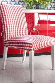 $59.99 IKEA Henriksdal chair updated with gingham and chrome nail heads. Check it.