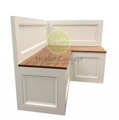 Beautiful practical 100% hand made kitchen nook with backrest and metal hinges and storage space. Ideal for the small kitchen missing cabinet space. Base is made with Oak plywood and top is made with pine wood (hard wood). The base is made with plywood because it is a much resistant material that Kitchen Nook Bench, Corner Bench, Kitchen Seating, Dining Nook, Corner Banquette, Kitchen Corner, Dream Furniture, Custom Made Furniture, Handmade Furniture