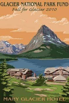 Glacier National Park Fund - Many Glacier Hotel - Lantern Press Poster