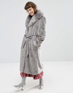 ASOS Faux Fur Coat with Oversized Collar and Belt
