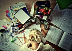 Exactly how my study area looks except I have cups and cups of Starbucks and chocolate wrappers everywhere. Lol