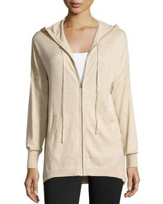 Neiman Marcus Hooded Zip-Front Cotton Cardigan, Sand (Brown), Women's, Size: L