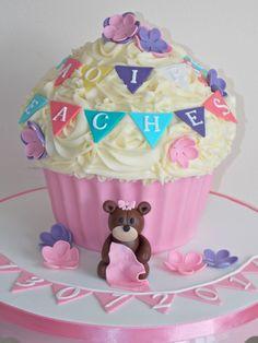 Giant cupcake for baby girl's christening