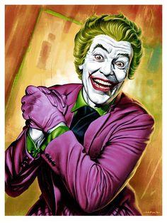 A new poster by Jason Edmiston, featuring Cesar Romero as the Joker in all his moustachioed, purple-pinstriped glory, heralds Mondo's Batman anniversary gallery. Art Du Joker, Le Joker Batman, Harley Quinn Et Le Joker, Der Joker, Batman 1966, Batman Cast, Batman Stuff, Batman Poster, Batman Artwork