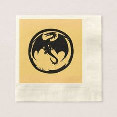 Black Dragon Gold ecru paper cocktail napkins - home gifts ideas decor special unique custom individual customized individualized