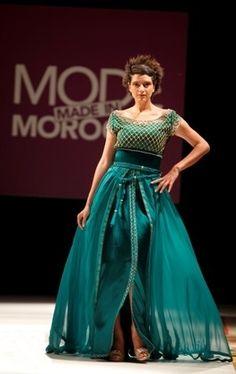 Caftan haute couture créatrice Fatna Farkh / Vert / 38 (M, T2) EU / Mousseline / Toutes saisons