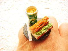 Kawaii Food Ring Orange Soda Sandwich Miniature Food Jewelry