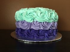 Teal & purple ombré rosette smash cake