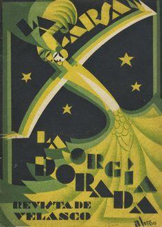 """Félix Alonso (cubierta). Pedro Muñoz Seca, Pedro Pérez Fernández y Tomás Borrás. """"La orgía dorada"""". 2.º número suplemento de La Farsa, cop. 1928."""