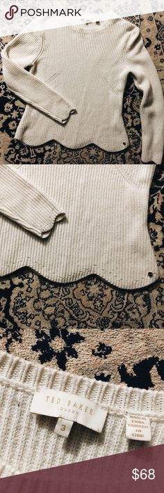 """Ted Baker Finda Scallop-Edge Sweater, Size 3/US 8 Beautiful cream sweater by Ted Baker! Soft wool blend ribbed fabric features adorable scalloped hem and sleeves. 17"""" pit to pit, 22"""" long. Ted Baker London Sweaters"""