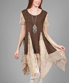 Simply Aster Brown & Cream Handkerchief Tunic - Plus by Simply Aster #zulily #zulilyfinds