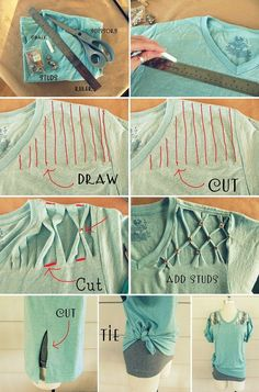 37 Awesomely Easy No-Sew DIY Clothing Hacks - clothes for teen clothes no sewing clothes refashion clothes thrift store clothes tshirt Diy Cut Shirts, Umgestaltete Shirts, T Shirt Diy, How To Cut Tshirt, Cutting T Shirts, Diy Tshirt Ideas, Cut Up T Shirt, T Shirt Hacks, Diy T Shirt Cutting