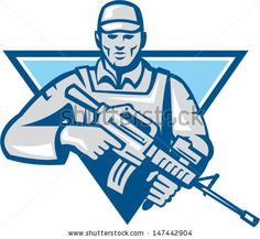 Illustration of an American soldier serviceman with assault rifle facing front set inside inverted triangle. - stock vector #soldier #retro #illustration