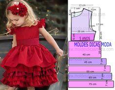 Passo a passo corte e costura de molde vestido vermelho 5 anos com medidas. Este modelo de vestido é um clássico que as crianças adoram e não dispensam.