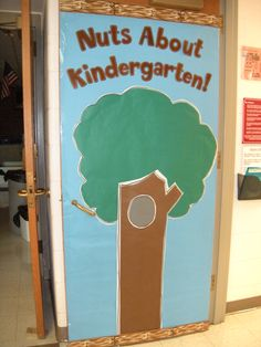 Melanie Watts: Scaredy Squirrel Door ready for kid's pictures on acorns for Back To School Night